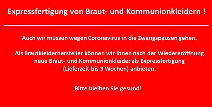 Expressfertigung von Braut- und Kommunionkleidern im Saarland!
