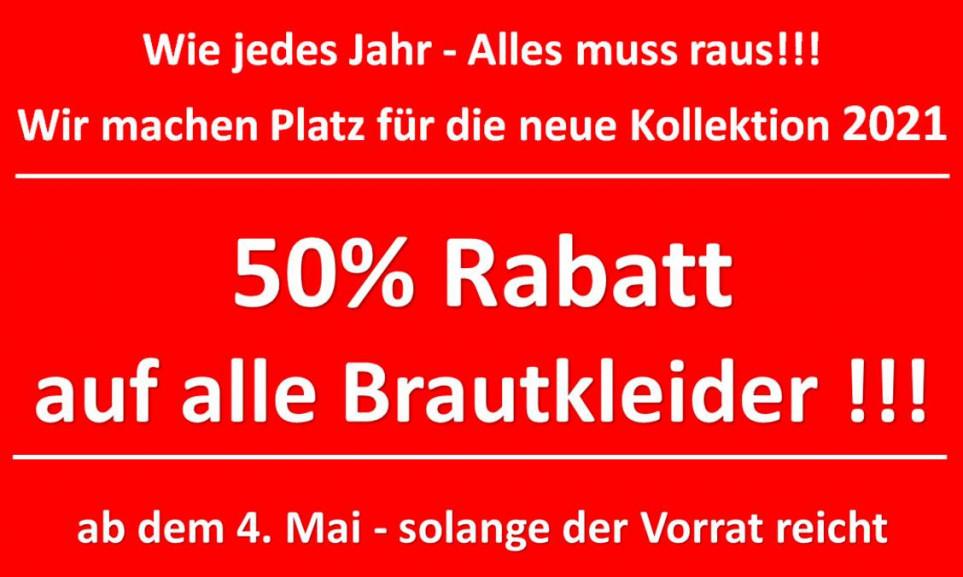50% auf alle Brautkleider Saarland - wir machen Platz für Kollektion 2021