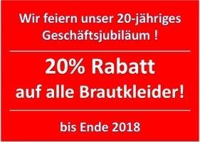 20% Jubiläums-Rabatt auf alle Brautkleider / Brautmode